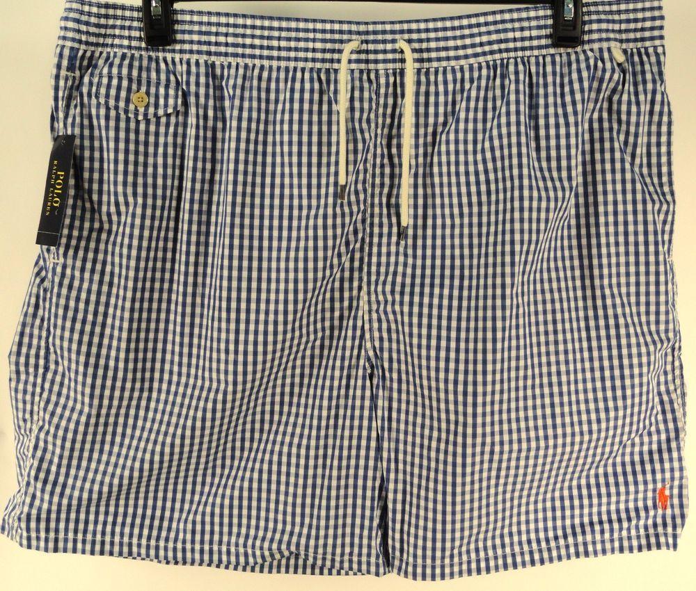 polo ralph lauren blue white plaid big tall bathing suit trunks board shorts 4xb