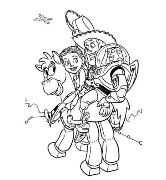 Jessie Woody Buzz And Bullseye Toy Story Coloring Pages With