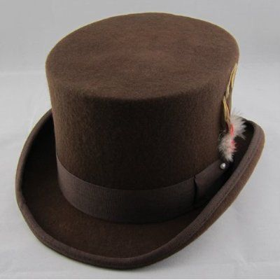a6f6dfe162 For The Groom: Patternsoftime - STTHBR - Brown Wool Felt Top Hat in ...