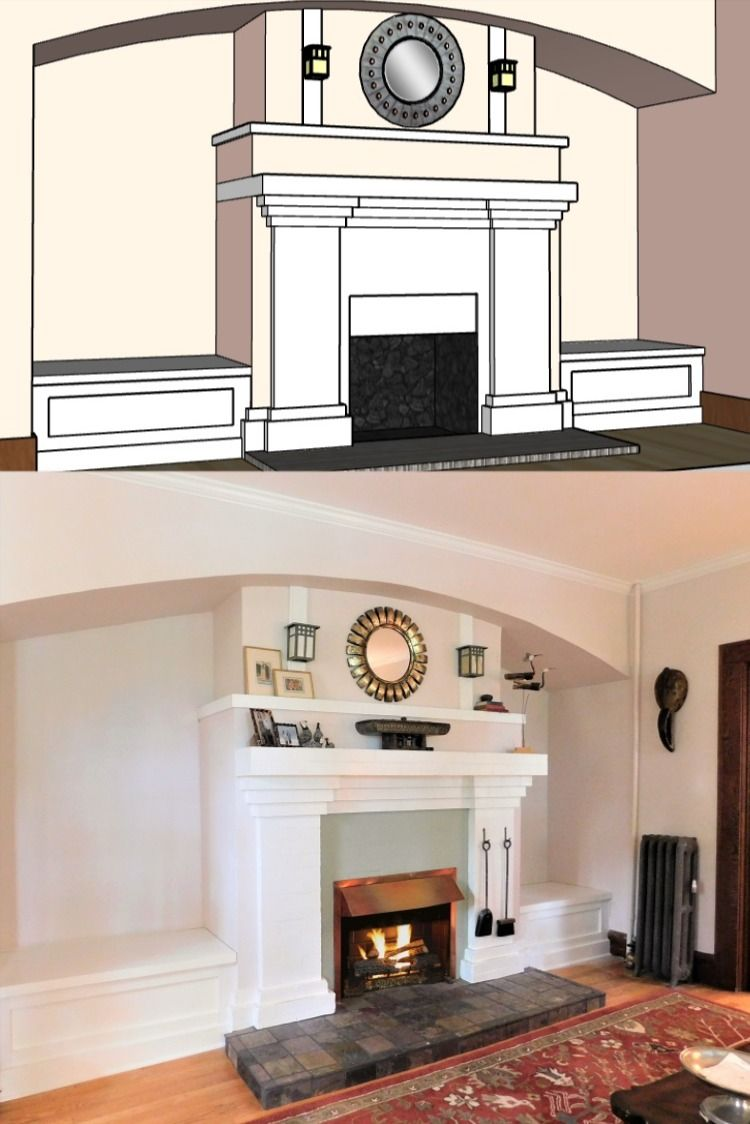 Design and installation of fireplace benches to restore a Craftsman-style inglenook. Installed in Asheville, NC. #craftsmanstyle #fireplacedecor #inglenook #fireplace
