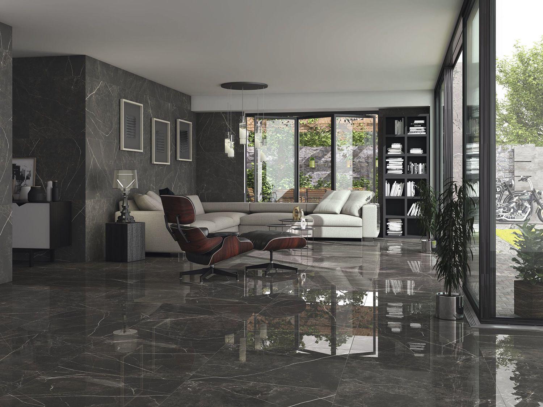 Black Jack Polished Porcelain Tiles Living Room Tiles Tile Bedroom Floor Design