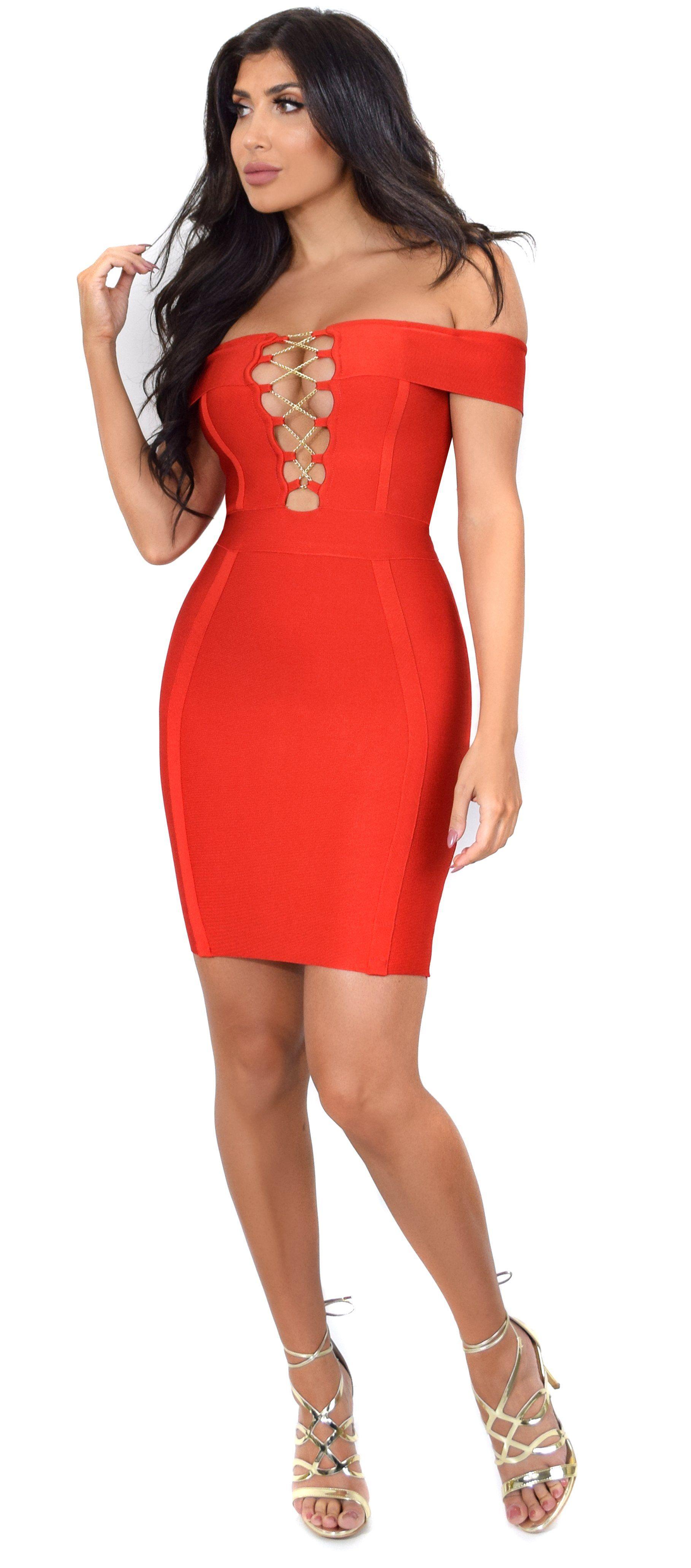 Frida red off shoulder gold chain criss cross bandage dress