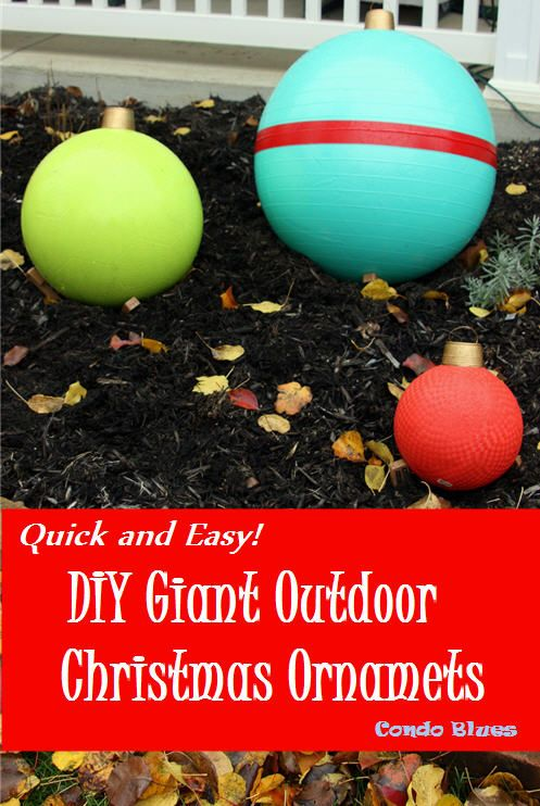 Step by step tutorial how to use exercise, yoga, and playground balls to  make giant Christmas ornament ball outdoor decorations - How To Make Easy DIY Outdoor Giant Christmas Ornament Decorations