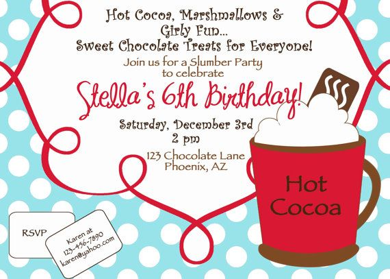 PRINTABLE Aqua Red Hot Cocoa or Chocolate Birthday Party