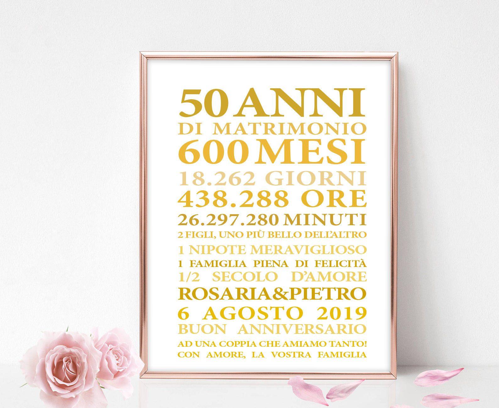 50 Anni Anniversario Di Matrimonio Idearegalo Quadretto Personalizzato Poster C 50esimo Anniversario Di Matrimonio Anniversario Di Matrimonio Anniversario