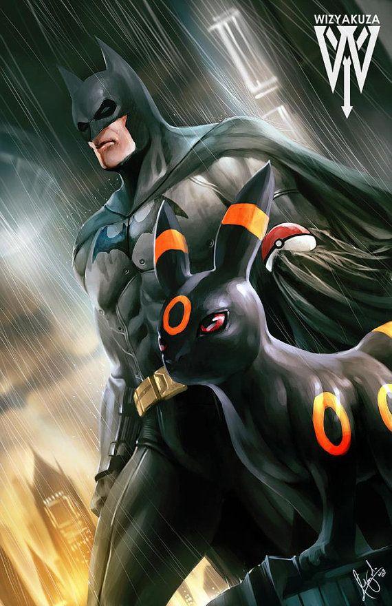 Batman and Umbreon - DC Comics and Pokemon Crossover - 11 x 17 Digital Print