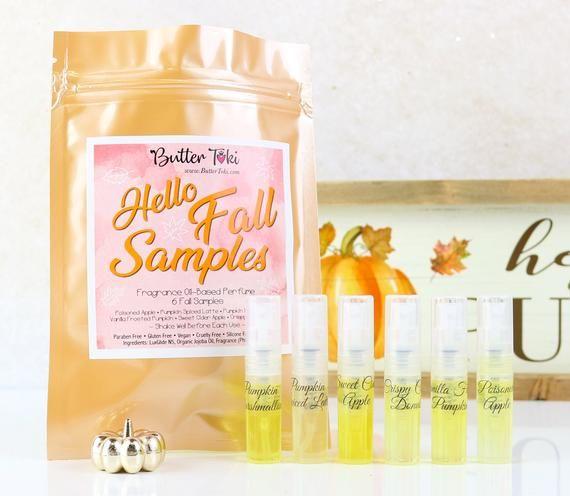 HELLO FALL SAMPLE Pack Fragrance Oil-Based Perfumes - 6 Samples 2 mL each - Paraben Free - Vegan- Cr #hellofall