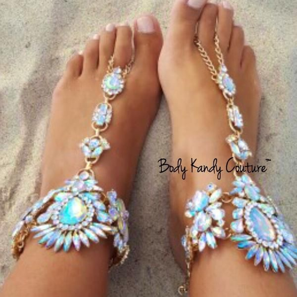 Tali Crystal Jeweled BareFoot Sandals Beach wedding shoes Beach
