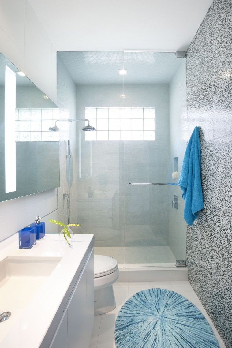 Grey Marble Tile Wall And Glass Shower Stalls Door Connected By ...