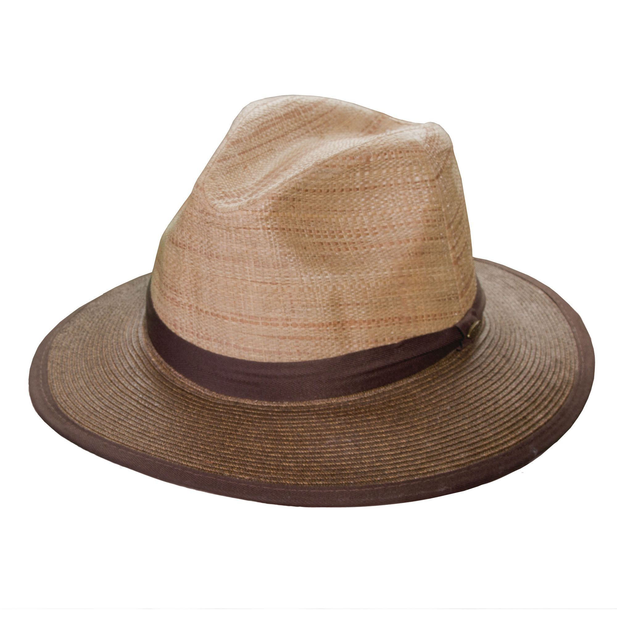 ea33e007d82 Multi shade raffia c-crown with pinch sides. Brown paper braid ribbon bound  brim, 2.5