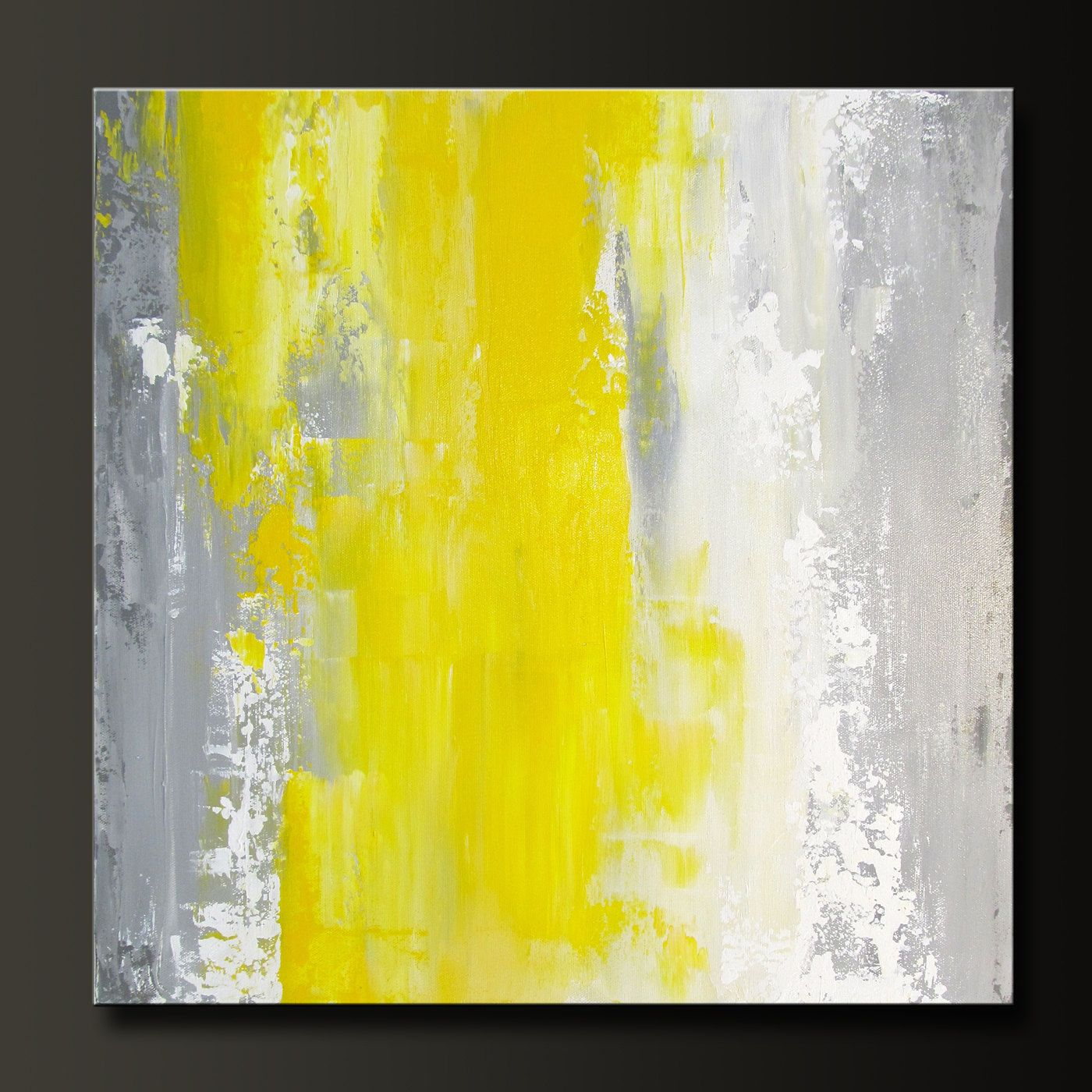 Abstract acrylic painting, 16x16, contemporary wall art, gray/yellow ...