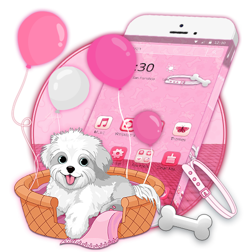 Download this cute white puppy theme n make your phone