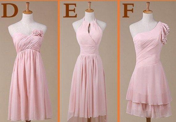 Custom+Short+Pink+Chiffon+Bridesmaid+Dress+Knee+by+SanctSophia,+$86.00