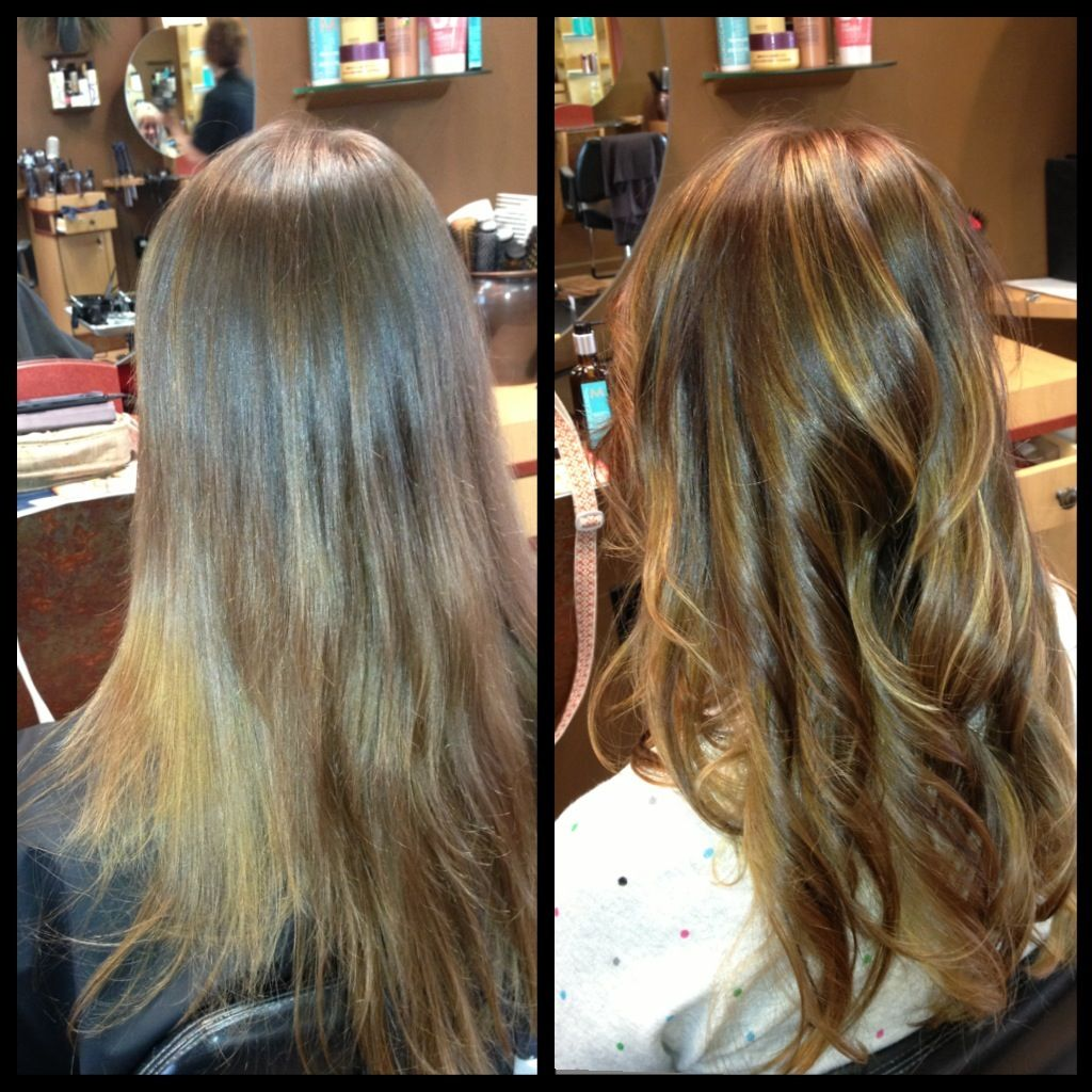 Medium Natural Level 6 Added Alternating Lowlights Level 4 Auburn And Level 5 Warm Gold With A