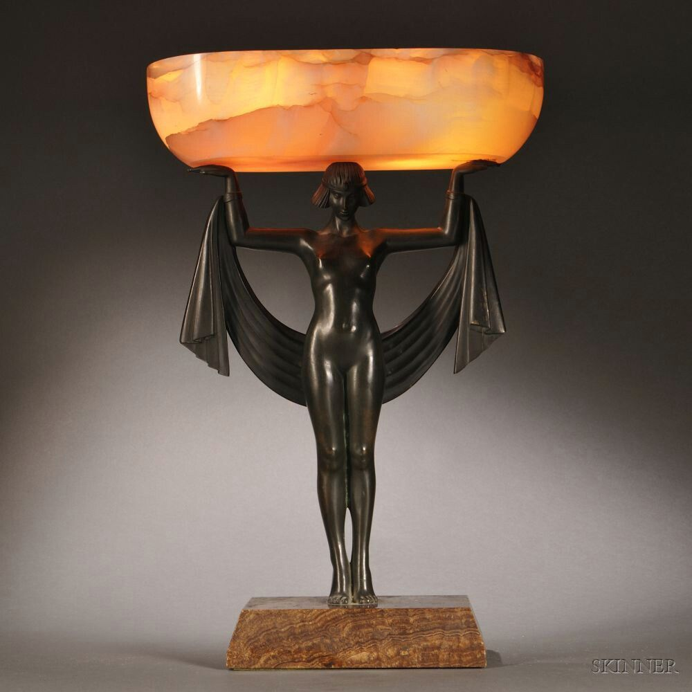Fanny Rozet (French, 1881-1921)    Art Deco Bronze and Onyx Table Lamp, the oval onyx shade supported atop a standing nude female figure wit...