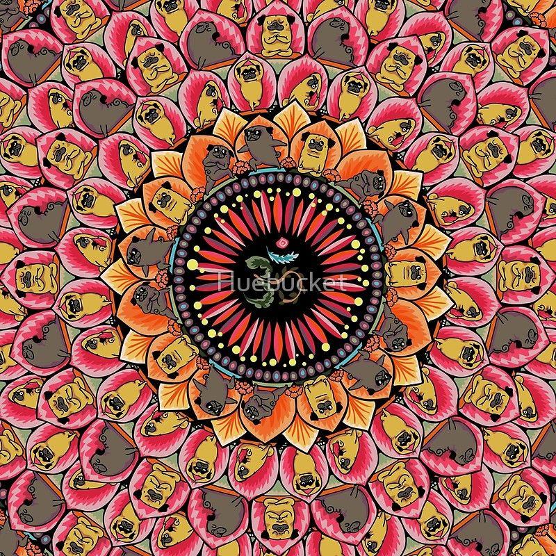 4065e2780 Pug Yoga Mandala' Throw Pillow by Huebucket | Yoga Every Damn Day ...