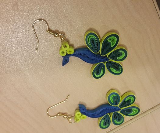 Blue Color Paper Quilling Pea Earring Designs 2017 Quillingpaperdesigns