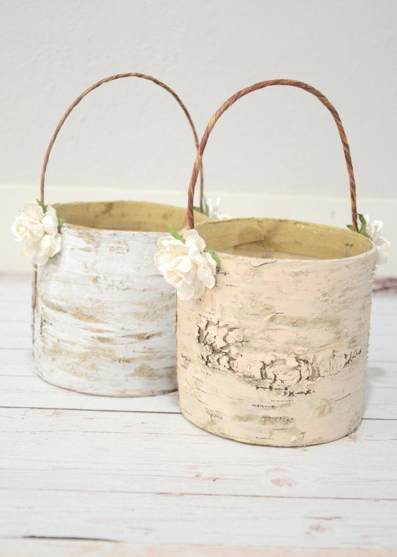 Set of 2 flower girl baskets - boho chic Spring 2014