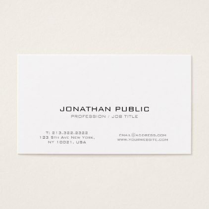 Modern Professional White Smart Creative Plain Business Card | Business  Cards