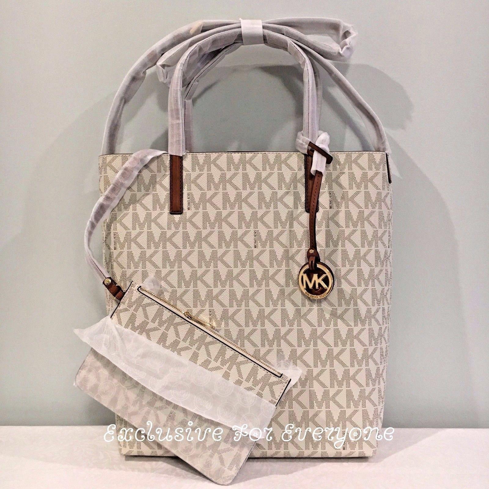 243f33c0ded0 NWT Michael Kors Hayley Large Convertible Vanilla Acron Tote MK Logo Bag   198  139.99