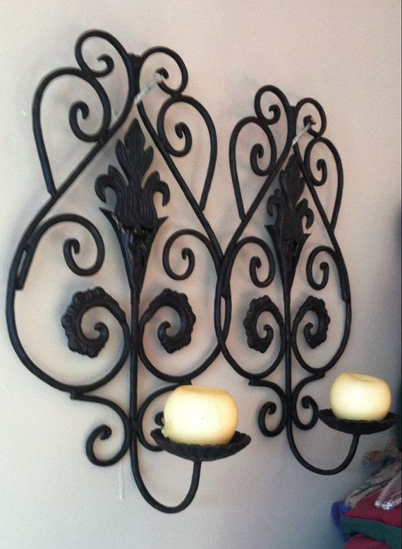 Autumn Sale Vintage Black Wrought Iron Wall Sconce Holder