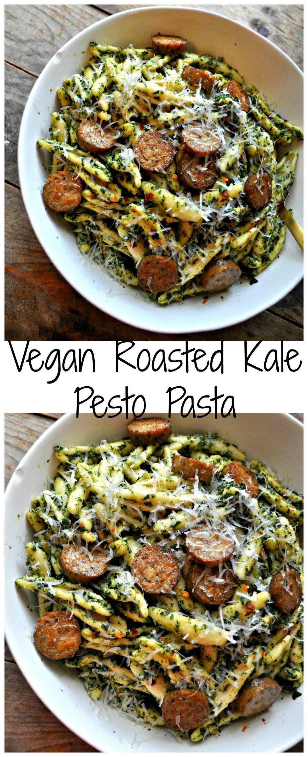 Vegan Roasted Kale Pesto Pasta