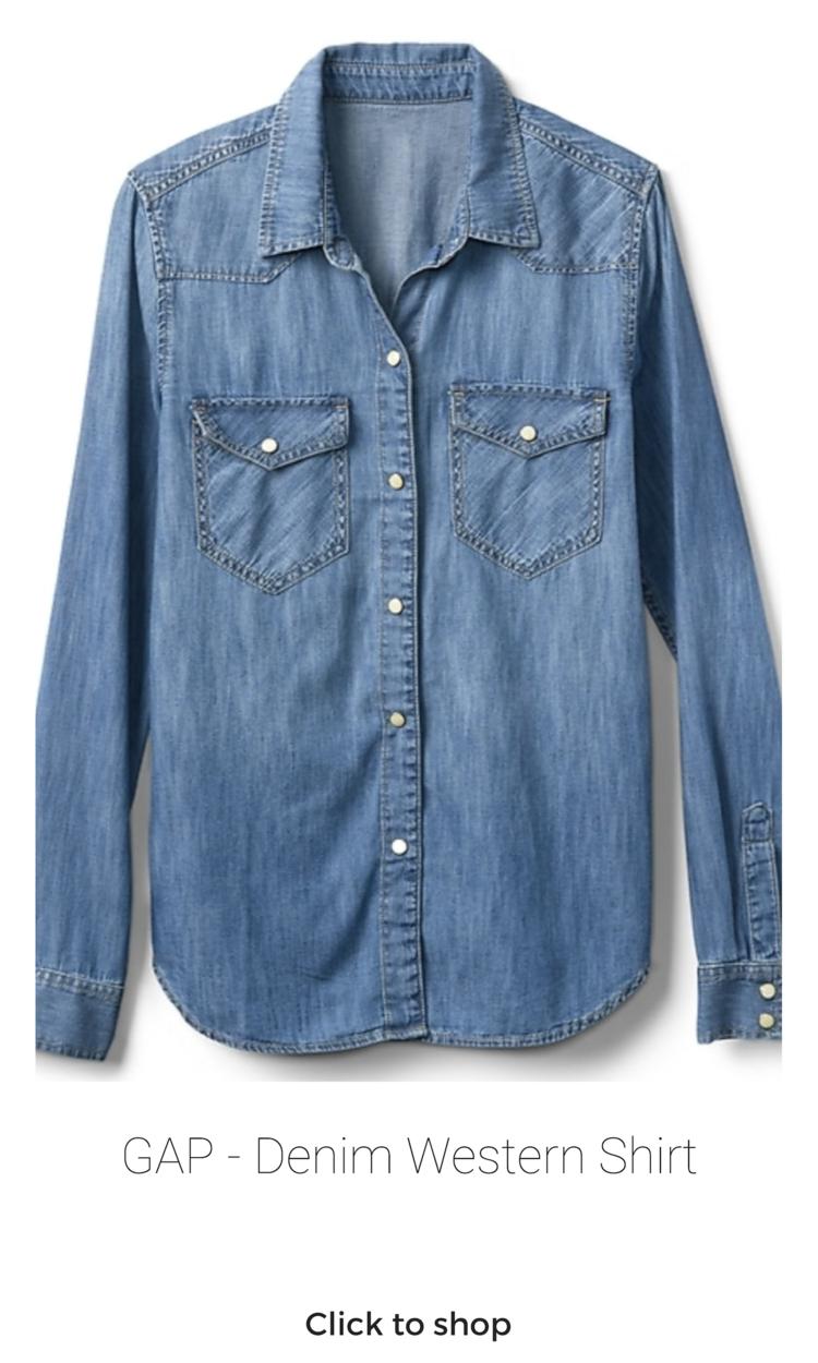 GAP - Denim Shirt (Sizes XS - XXL) - $59.95  #denimshirt #chambray #chambrayshirt #buttondownshirt #longsleeve #capsulewardrobe #capsulewardrobetops #tops #denimtop #denim #gap