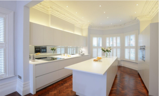 this kitchen from diane berry uses the beautiful parquet floor and