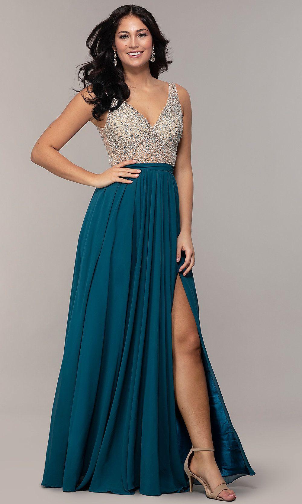 Embellished V-Neck Long Chiffon Prom Dress | Dresses, Long ...