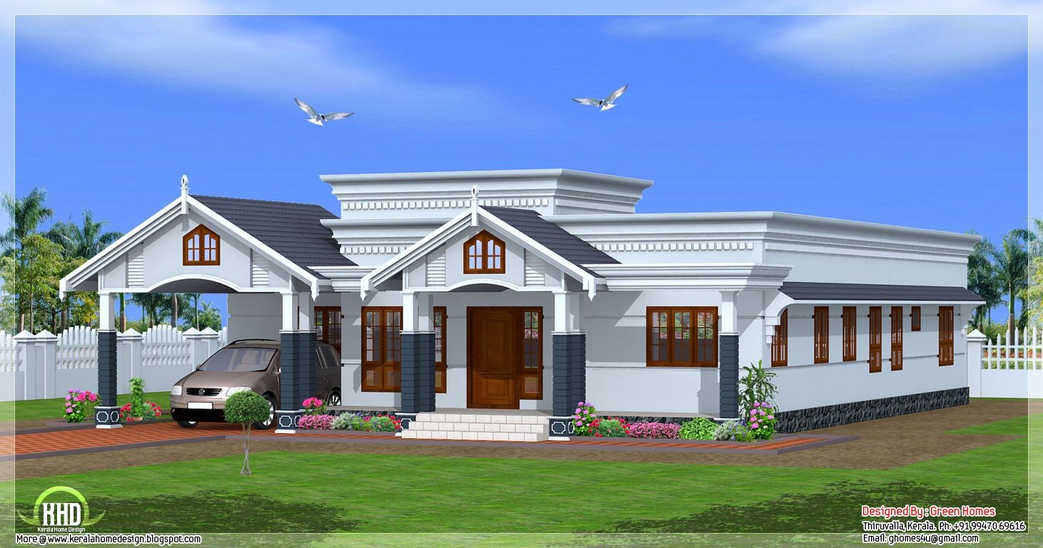 Single floor 4 bedroom house plans kerala design ideas for One floor house images