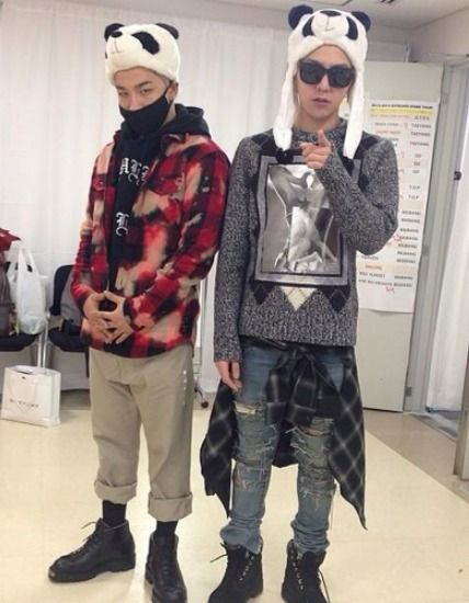 GD and Taeyang wearing panda hats :] #gdragon #taeyang