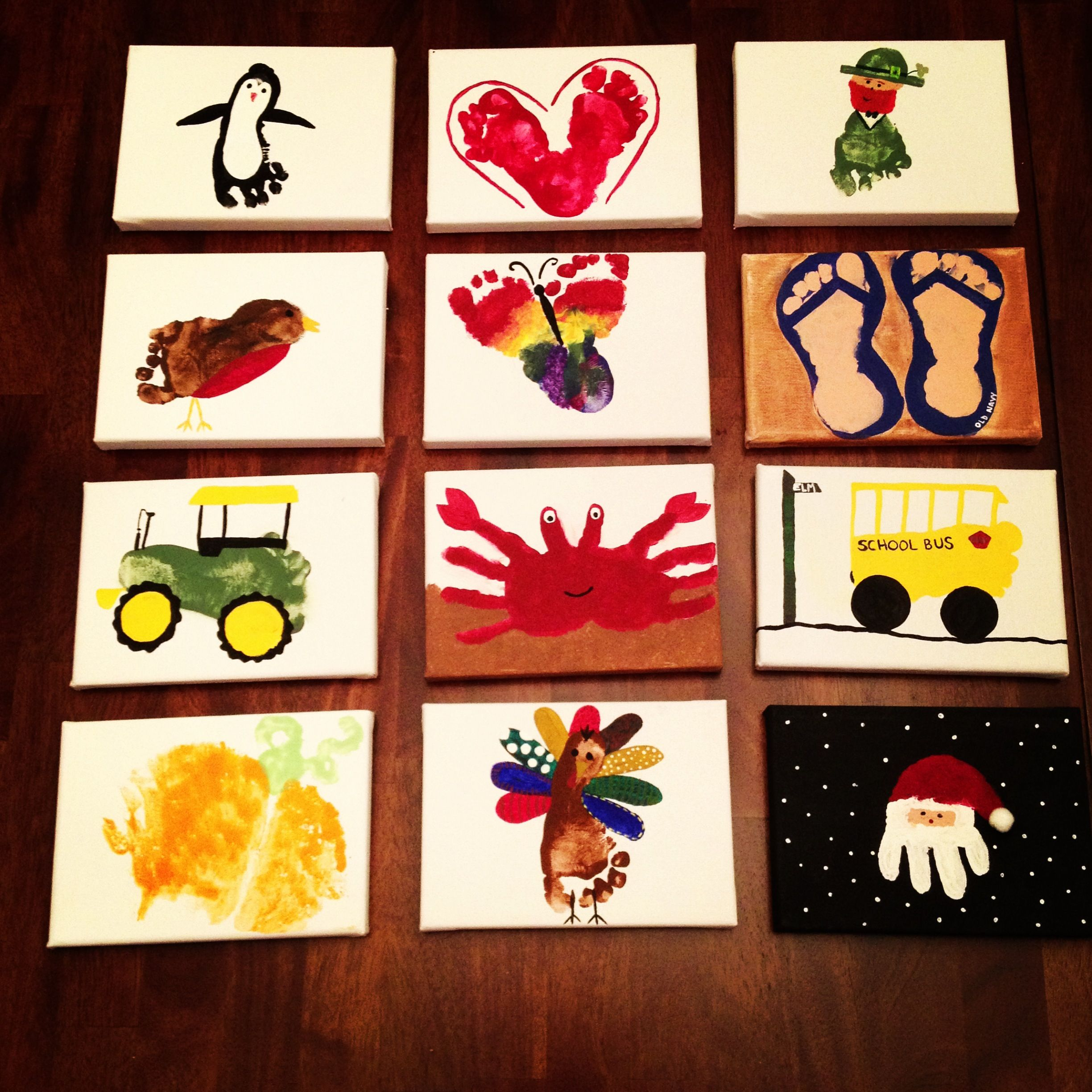 Handprint Footprint Art On Canvas Year Long Handprint Footprint Body