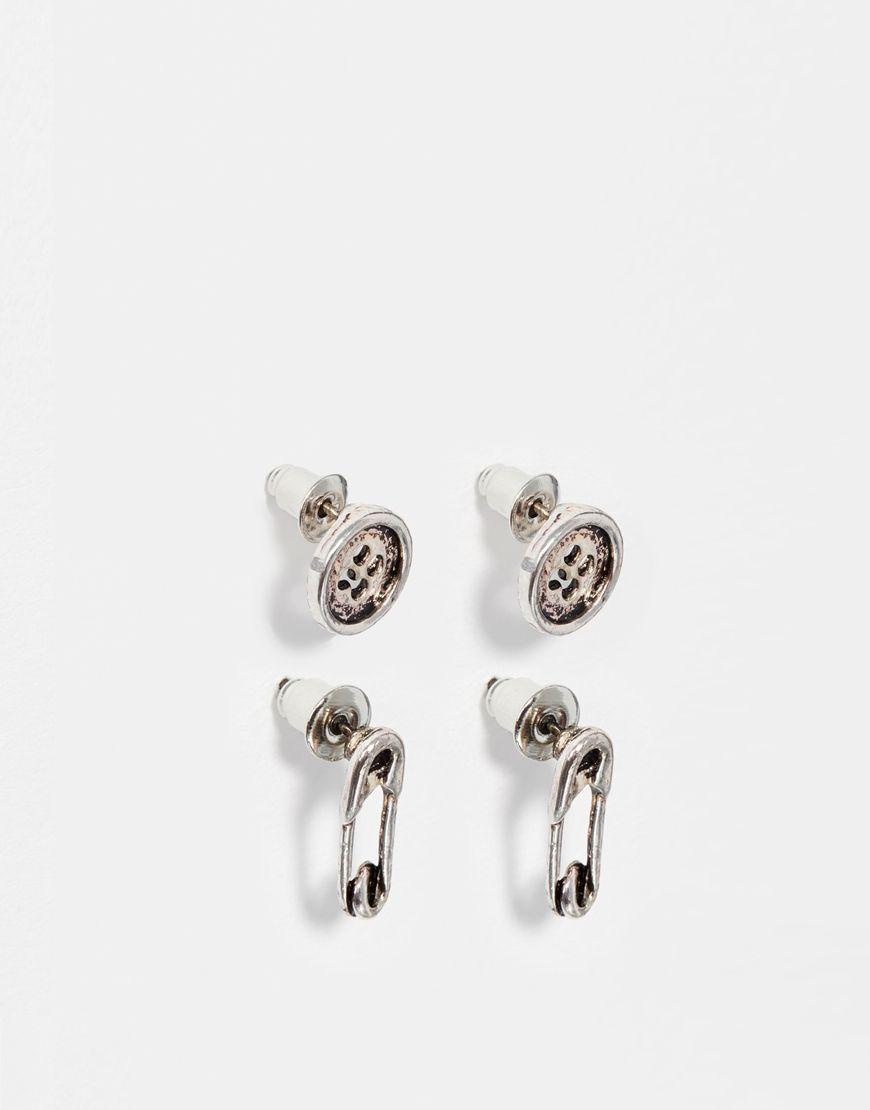 Earrings Set By Designsix Silver Tone Finish Stud Design