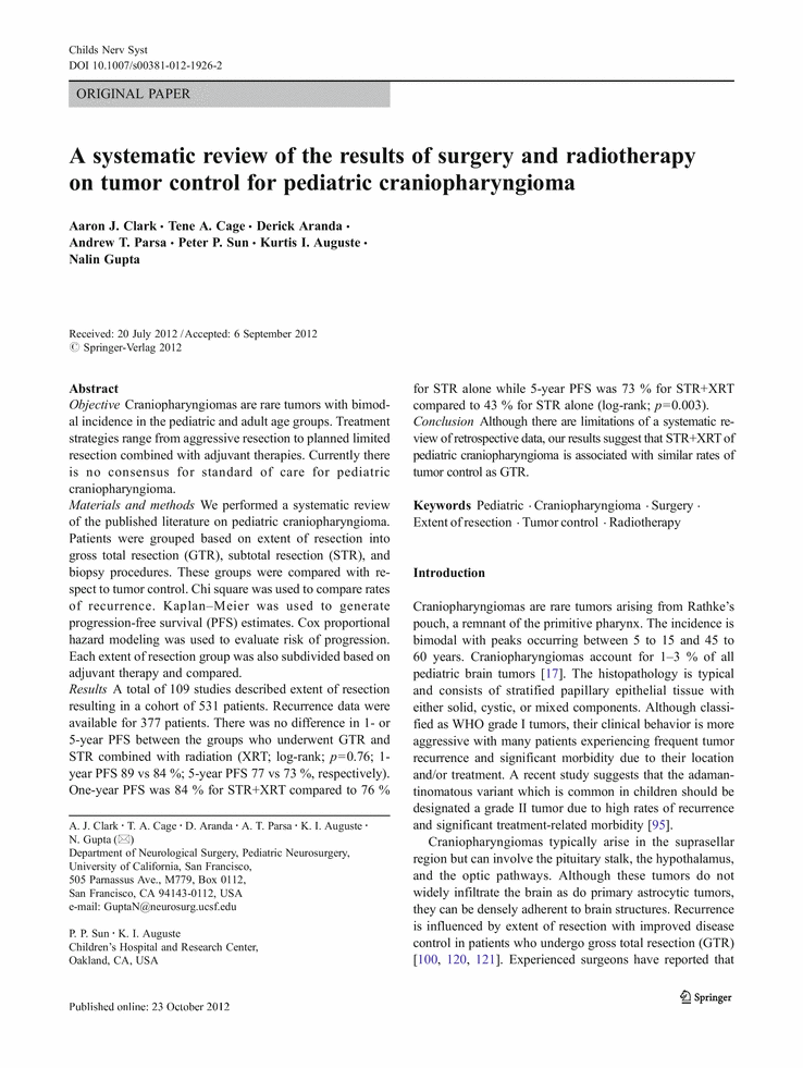 A systematic review of the results of surgery and radiotherapy on