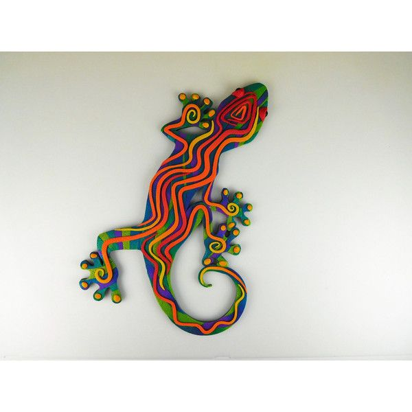 Crazy Stripe Gecko Lizard Wall Art 3d In Purple Blue Red And