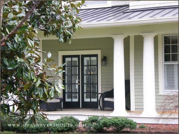 Black Front Door White Trim Gray Siding White Trim