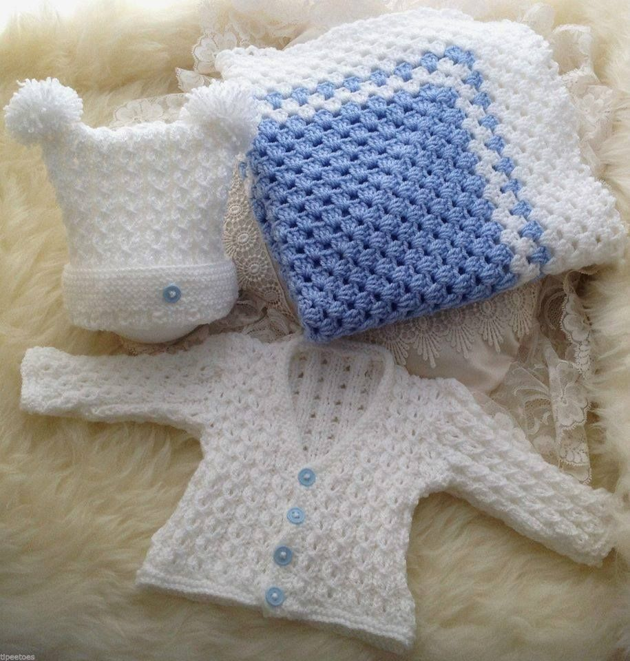 5814177bea Baby Homecoming Gift - Knitted Cardigan   Hat with Crochet Granny Square  Blanket