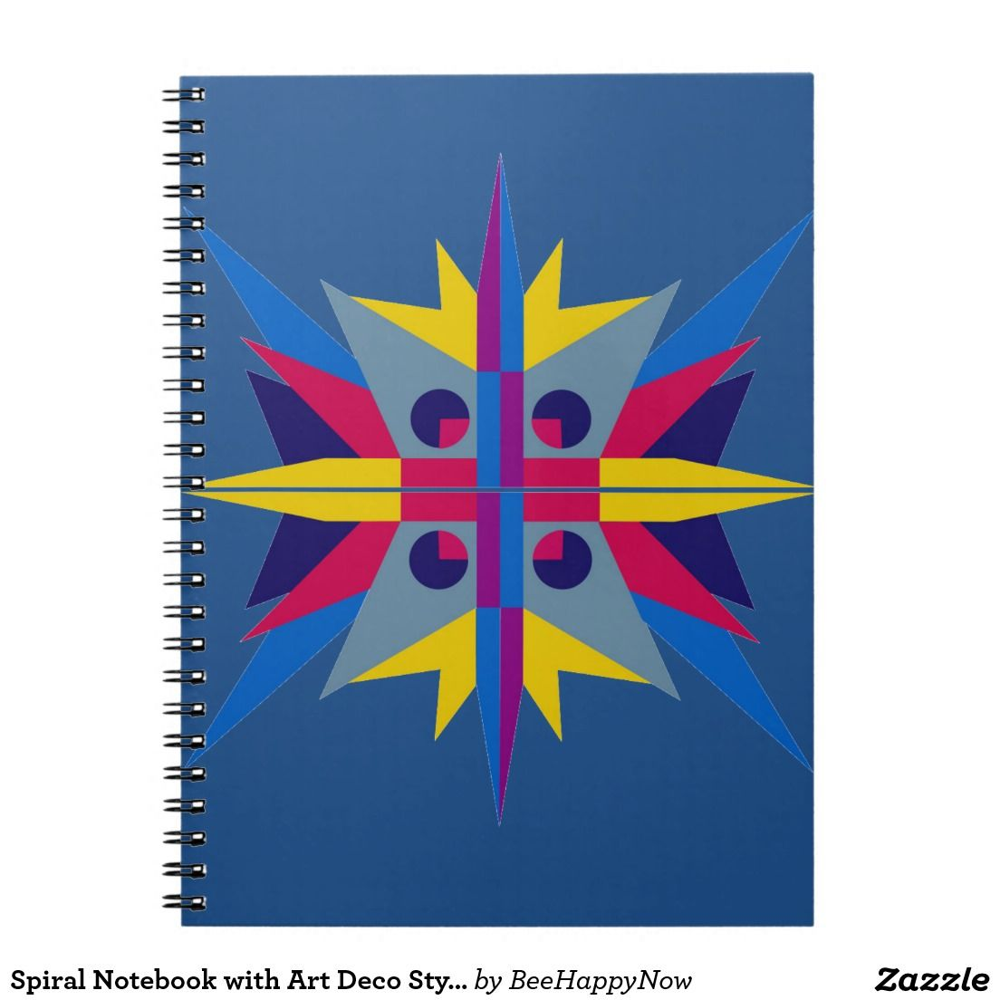 Art Deco Style Notebook Spiral Notebook With Art Deco Style Star Zazzle