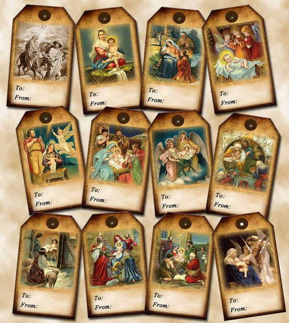 Christmas nativity primitive vintage art tofrom gift tags christmas nativity primitive vintage art tofrom gift tags printable collage sheet negle Image collections
