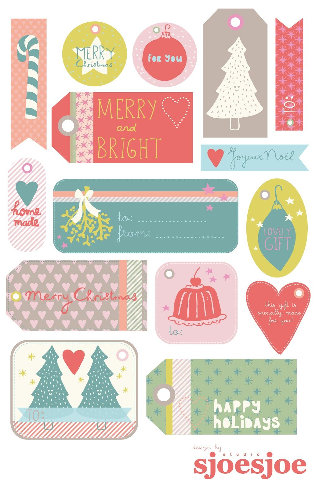 Free Printable Christmas Gift Tags By Studio Sjoesjoe Scrapbooking