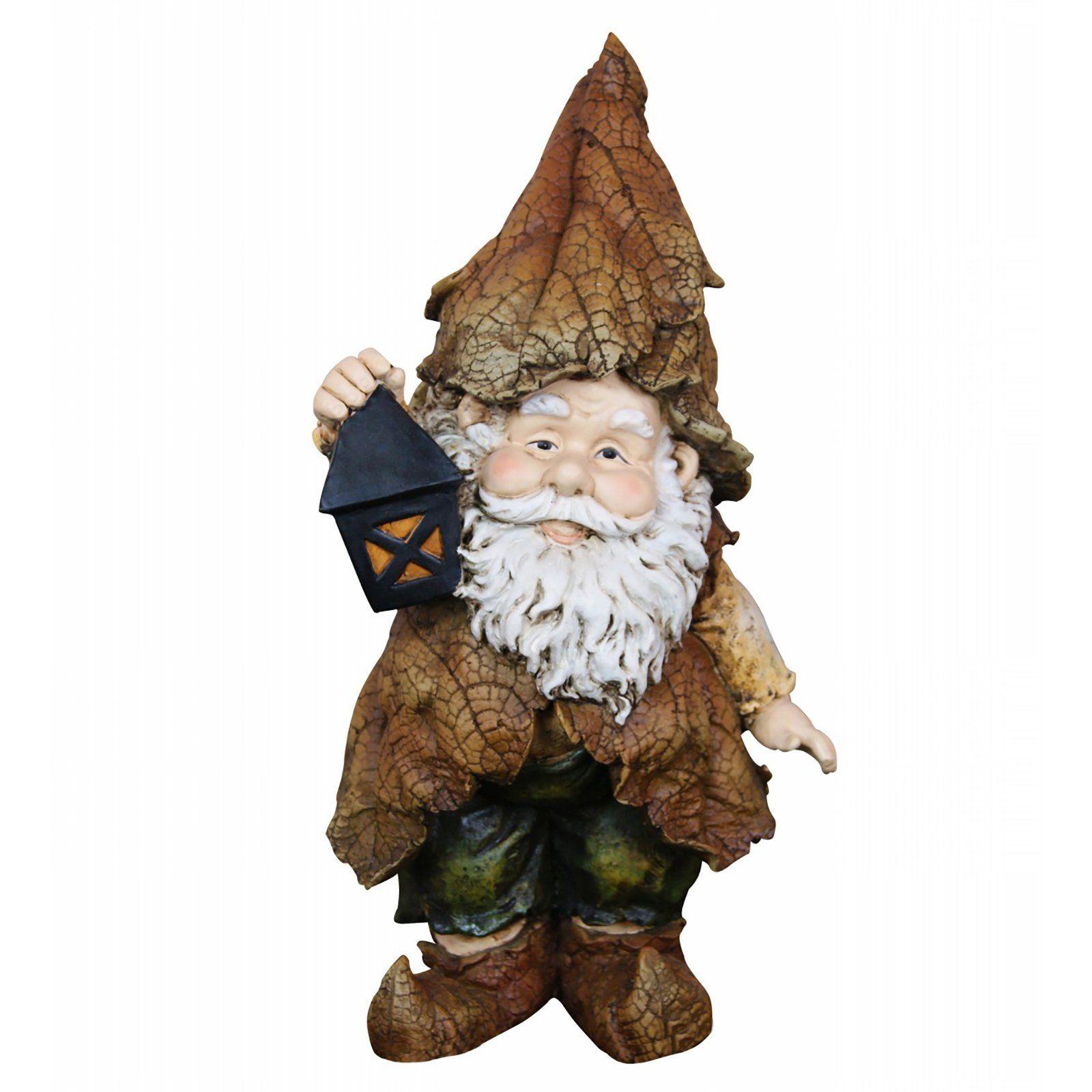 Alpine 15 in. Rainforest Gnome Garden Statue with Lantern