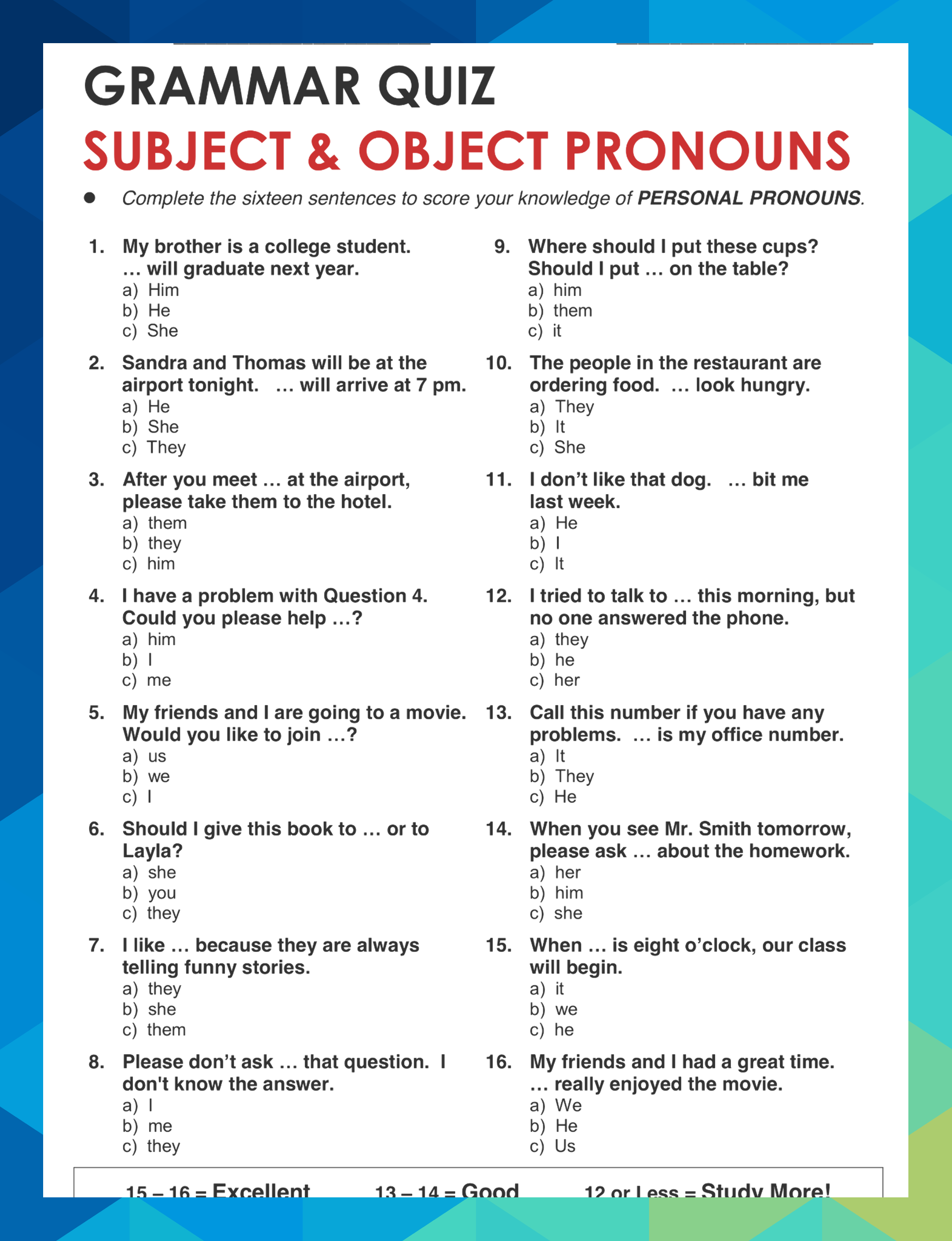 English Grammar Subject And Object Pronouns