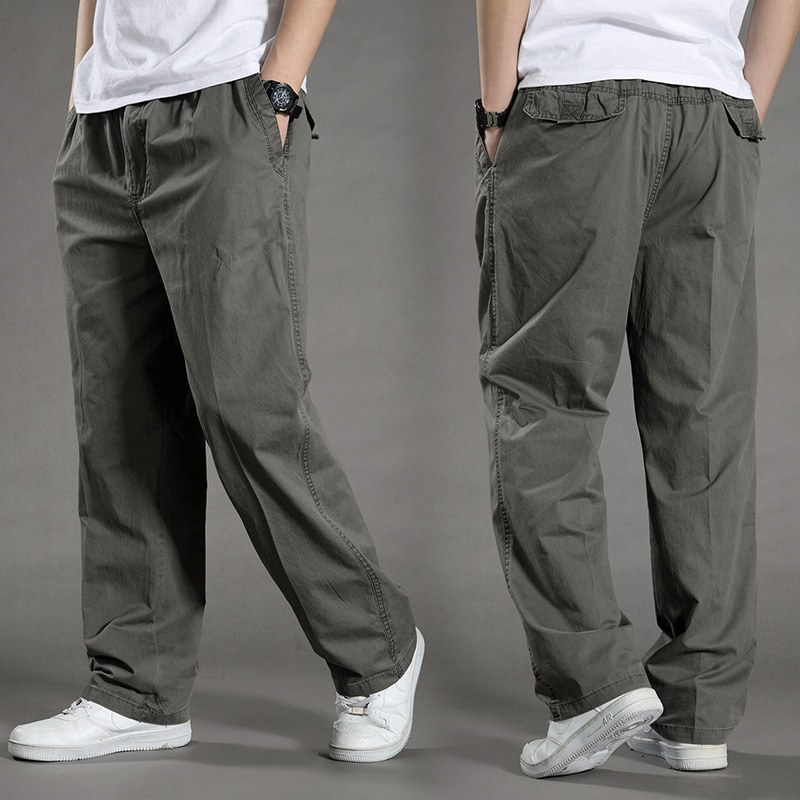 Mens casual loose pants trouser cargo overalls elastic waist pocket cotton long