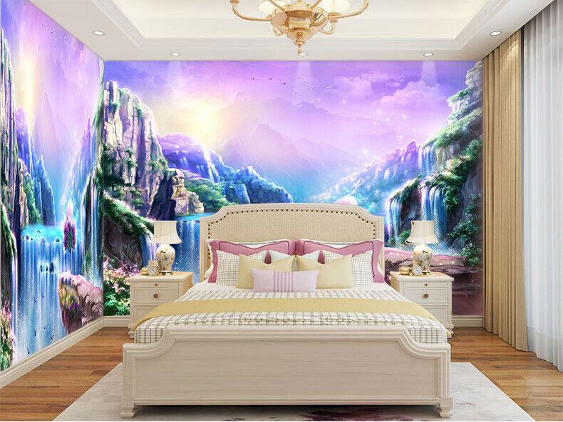 3d Fantasy Colorful Waterfall Self Adhesive Kid S Bedroom