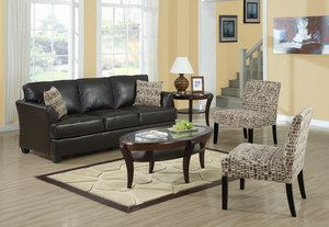 3pc Chocolate Brown Bonded Leather Sofa Two Accent Chairs Ebay Living Room Chairs Accent Chairs For Living Room Living Room Bench
