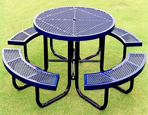 Plastic Picnic Table Combination Of Metal Frame And Colorful Plastics