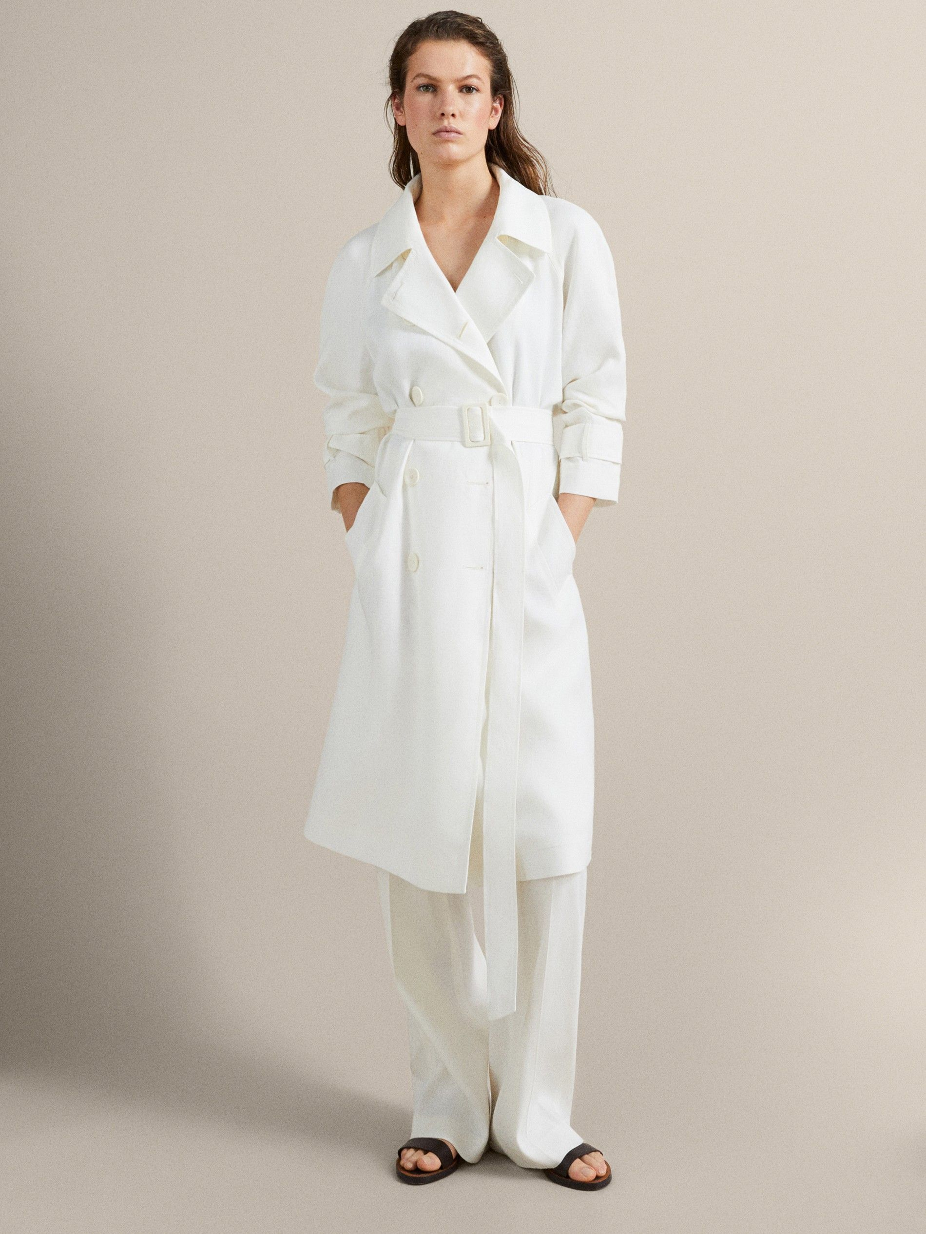 149 100 Linen Trench Coat With Belt Women Massimo Dutti Trench Coat Womens Spring Jackets Coat
