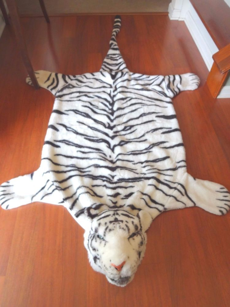 Plush Faux Fur White Tiger Rug Area Floor Room Decor Jungle Animal Skin Novelty
