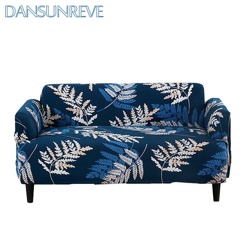 Deep Blue Elastic Sofa Cover Beautiful Leaves Patterns Suitable