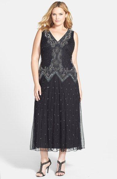 Pisarro Nights Beaded Drop Waist Dress (Plus Size) available at ...